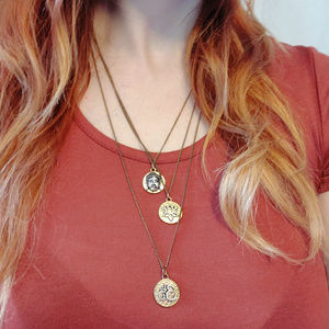 Triple Strand Layered Brass Colored Necklace